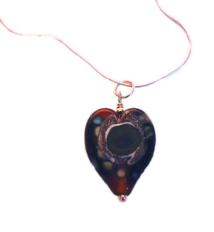 Yellowstone Heart Necklace, Glass Pendant