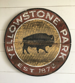 Yellowstone with Bison Round Shape Vintage Sign