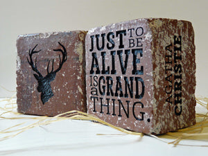 """Just to be alive"" Brick Book-Ends"