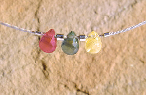 Three Sapphire Necklace - Blue, Yellow, Red
