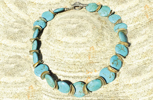 Turquoise Stone Necklace, Sterling Discs