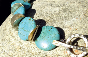 Turquoise Stone Necklace, Sterling Discs SOLD OUT