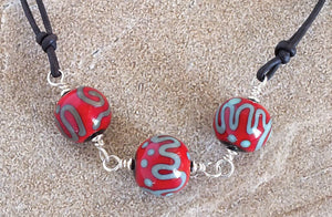 Red Bead Scrolls Necklace - made in Montana