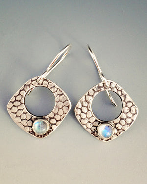 Pebbled Silver Moonstone Earrings