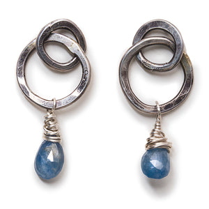 Double Hoops with Blue Sapphire Drops