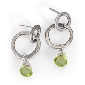 Double Hoops with Peridot Drops