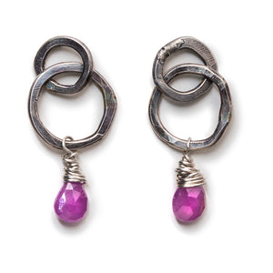 Double Hoops with Pink Sapphire Drops