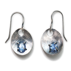 Scoops with Gemstone Earrings (Garnet or Tanzanite)