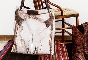 Leather handled Bison Skull Tote Bag