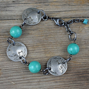 Buffalo Nickel with Turquoise Bracelet