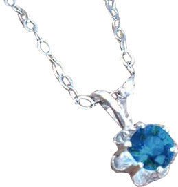 Montana Sapphire Necklace, Sterling Buttercup Pendant