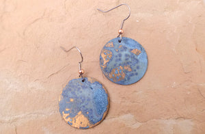 Oxidized Copper Circle Earrings