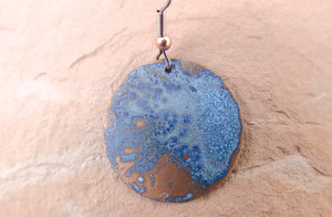 Copper Blue Disc Earrings