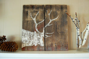 Weathered Elk Salvage Wood Art