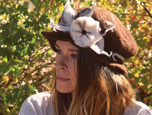 Brimmed Alpaca Fur Hat, Flower