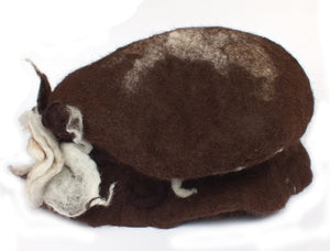 Felted Brim Alpaca Fur Hat, Flower  SOLD OUT