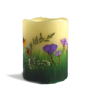 Purple Wildflower Flameless Candles