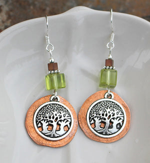 Hammered Copper Forest Earrings