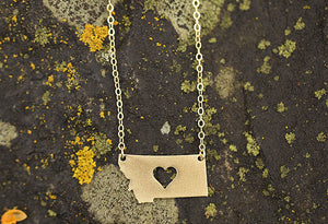 Montana Necklace with Heart (Silver or Gold)