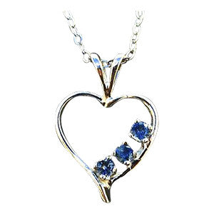 Montana Sapphire Necklace, 3 Stone Heart
