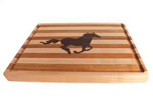 Rectangular Hardwood Cutting Board, Wild Horse