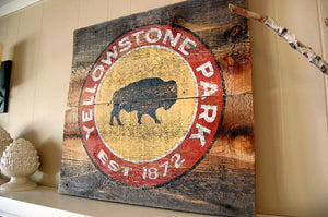 Yellowstone Bison Rustic Barnwood Sign