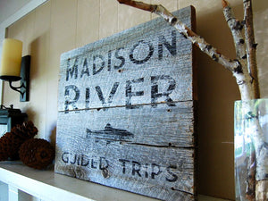 River Guide Rustic Montana Sign