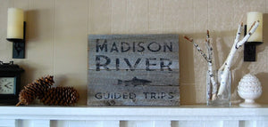 Fly Fishing Salvage Wood Sign