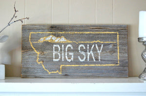Big Sky Rustic Barnwood Montana Sign - Distinctly Montana - 7