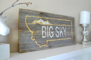 Big Sky Rustic Barnwood Sign