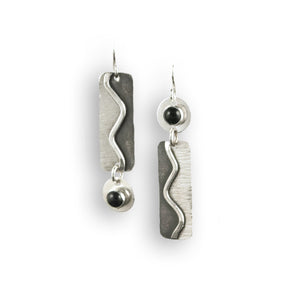 Winding Path Sterling & Onyx Earrings- Montana Jewelry