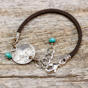 Buffalo Nickel with Turquoise Leather Bracelet