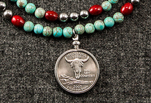 Double Strand Mixed Bead Quarter Pendant