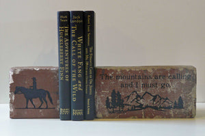 """The Mountain is Calling"" Brick Book-ends"