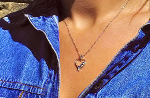 Blue Sapphire 3-Stone Heart Necklace