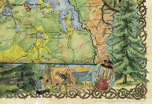 Yellowstone National Park Map Wall Art detail 4