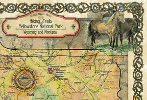 Yellowstone National Park Art Map Detail 2
