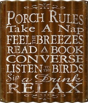 Porch Rules Metal Sign