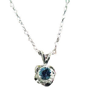 Montana Sapphire Necklace, 3-Prong Sterling Rose