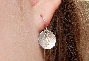 Sterling Disc Earrings /Pearl or Crystal SOLD OUT