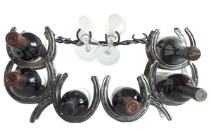 """The Rancher"" Horseshoe Wine Caddy -  Montana Home Decor"