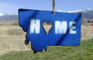 Montana Home Ornament - Blue Metal