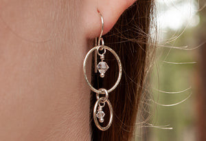 Sterling Double Hoop Earrings Crystal or Pearl