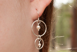 Sterling Double Hoop Earrings/Crystal or Pearl Accent