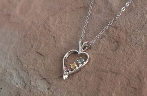 Montana Sapphire Necklace, 3-stone Multi-Color Sterling Heart