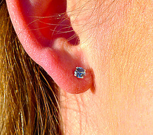 Montana Sapphire Earrings, Tiffany 4-prong Stud (size choices)