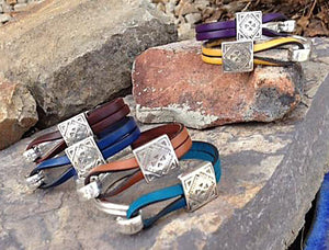 Sterling Tribal Leather Bracelet, All Colors