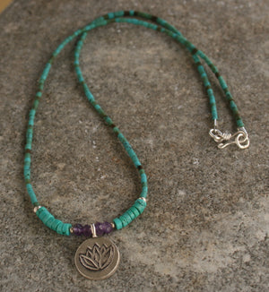 Turquoise Bead Necklace, Silver Charm