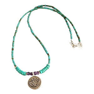 Silver Lotus Charm Necklace, Turquoise Amethyst Beads  SOLD OUT
