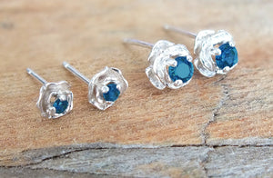 Sterling Silver Stud Earrings, Montana Sapphire